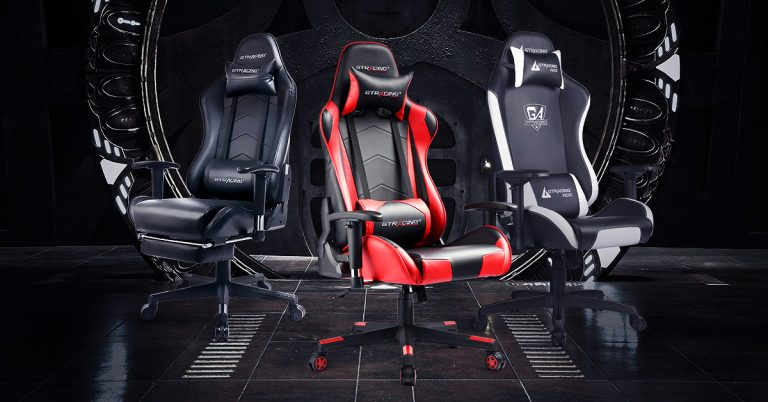 A photo of three GT Racing gaming chairs in a range of colors and prices