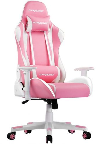 A GT Racing Pro Series gaming chair in pink